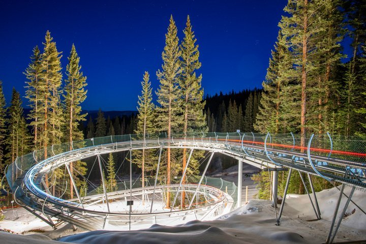 The Snowmass Breathtaker Alpine Coaster is open at night during Ullr Nights festivities and special holidays. - © Aspen Skiing Company