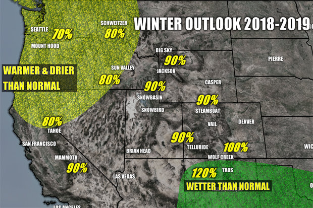 Winter weather outlook for the 18/19 ski season in the Western U.S. - © Meteorologist Chris Tomer