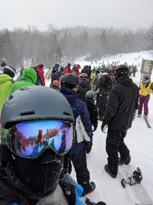 Snowshoe Mountain Resort - Most trails open. Conditions are groomed but icy. Weather is windy and cold. Also, crowded due to holiday weekend. - © L
