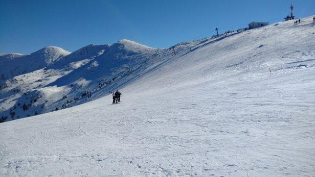 Vrátna Malá Fatra - Luxusná lyžovačka na Chlebe, parádne počasie, na svahu málo ľudí. Veľa peších turistov, na parkovisku pod Chlebom nebolo kde parkovať a parkovisko čistý ľad, nebolo ani posypané. V reštaurácii Panoráma na Chlebe relatívne krátka fronta - © Matej