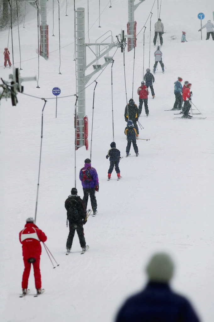 Elevated View of People Skiing on Ski Slopeval Disere Sainte Foy Tarentaise French Alps --- Image by © Royalty-Free/Corbis