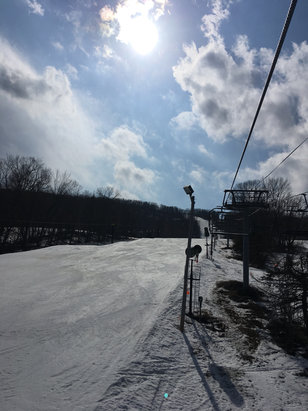 Catamount - It was 64F today with sunshine and blue skies making it a beautiful day on the Mtn. Snow varied from ice to slush to soft spring snow. - © Dana