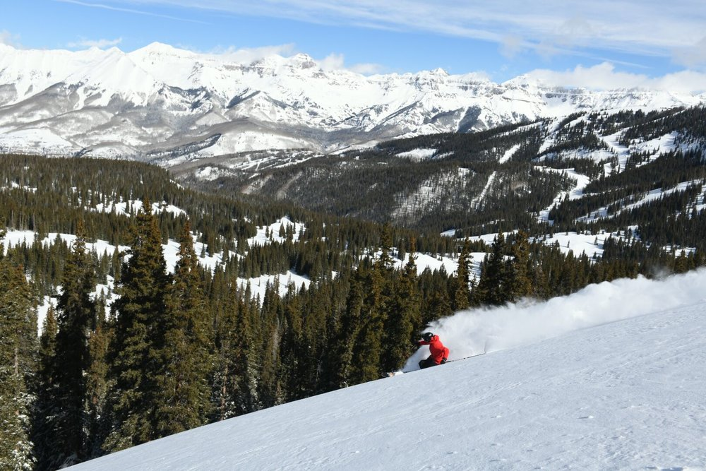 Blue sky and fresh powder at Telluride this week. - © Telluride Ski Resort