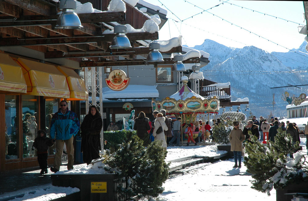 The village of Cesana below the Sansicario ski area.