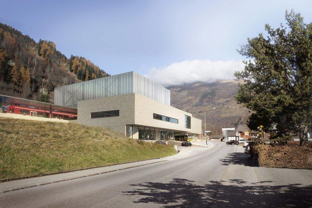Geplante Talstation der neuen Gondel in Fiesch (Aletsch Arena) - © Aletsch Arena