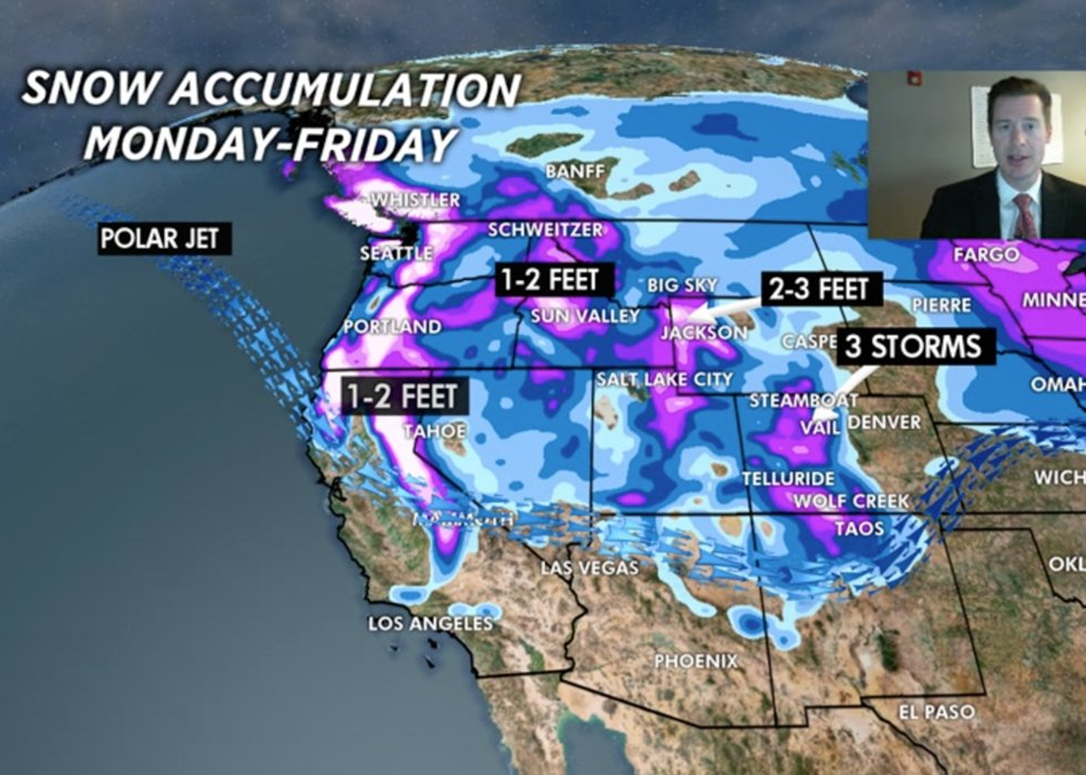 Powder days ahead for resorts in the West, with 2-3 FEET of snow expected at Jackson Hole & Alta/Snowbird. - © Meteorologist Chris Tomer