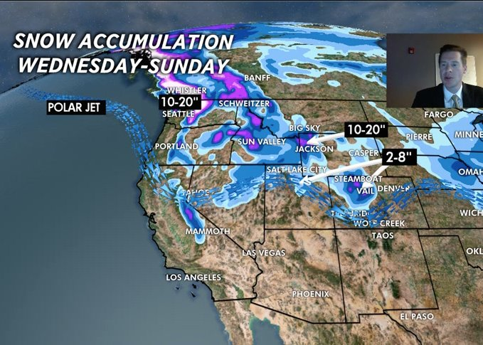 Expect up to 20 inches of snow accumulation in some areas of the West by Sunday. - © Meteorologist Chris Tomer