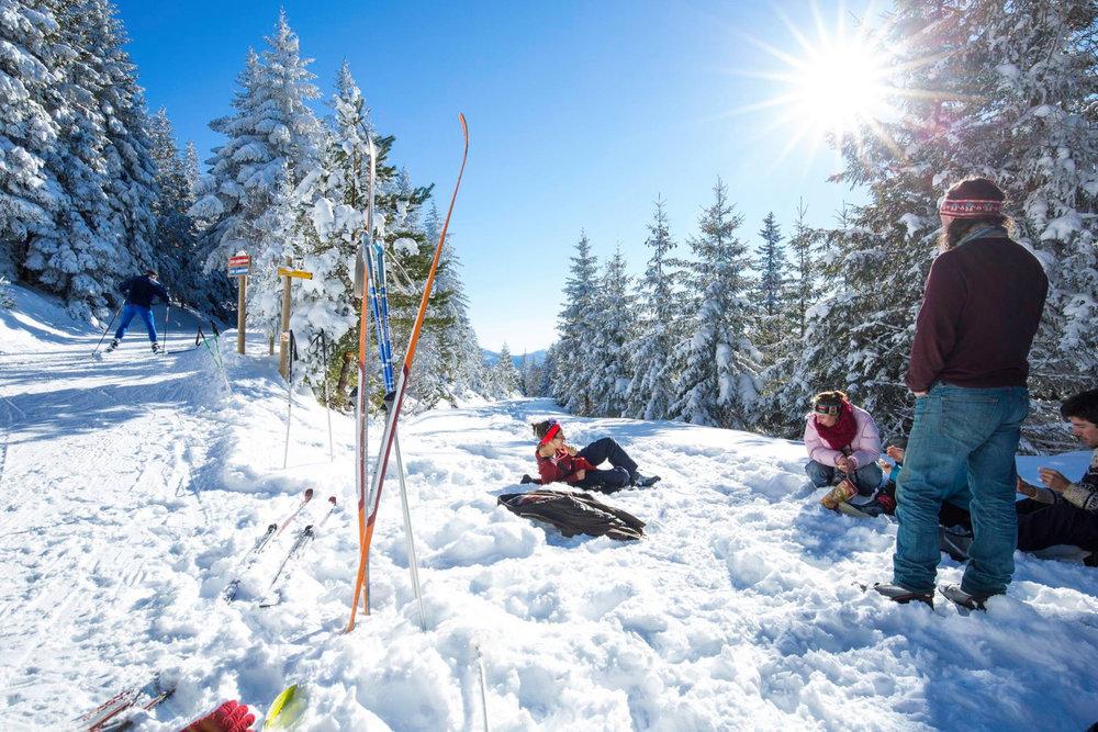 Petite pause contemplation sur les pistes de ski de fond du Mézenc - © Facebook @MezencLoireMeygal