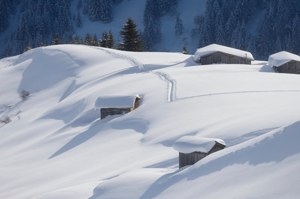 Holzhütten am Pistenrand in Kappl - © © TVB Paznaun - Ischgl