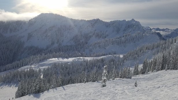 Stevens Pass Resort - Sunny weekday with longer lines than the usual weekday (compared to normal years). I guess that is par for the course this season. Snow was heavy. Wasn't as much groomed as usual. Very disappointing.  - © Anonymous