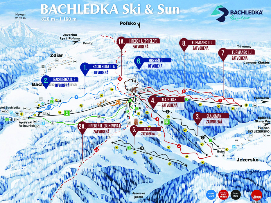 Skiing Map of Bachledka - © IMMOBAU s.r.o.