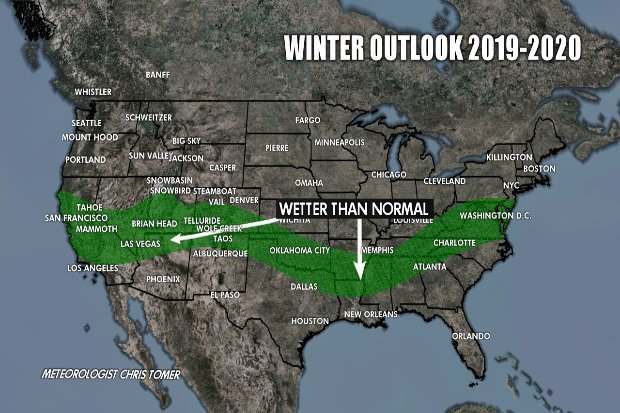 Winter forecast 19/20: Moisture levels across North America - © Chris Tomer