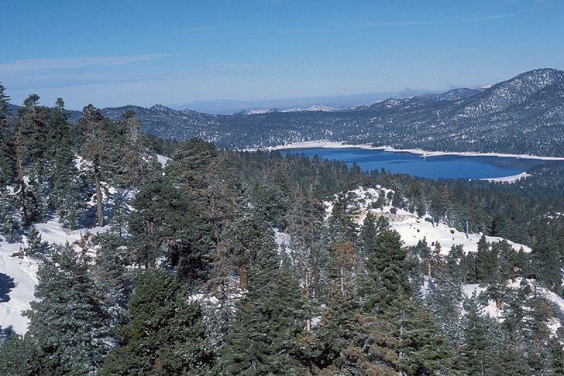 A view of a lake at Snow Summit, California