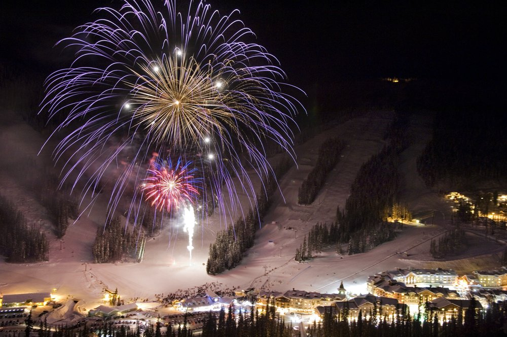 Sun Peaks New Year's Eve fireworks display. - ©  Adam Stein, Sun Peaks