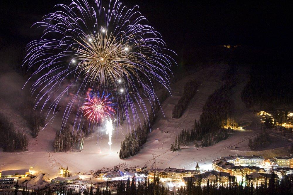 Sun Peaks New Year's Eve fireworks display. - ©  Adam Stein, Sun Peaks