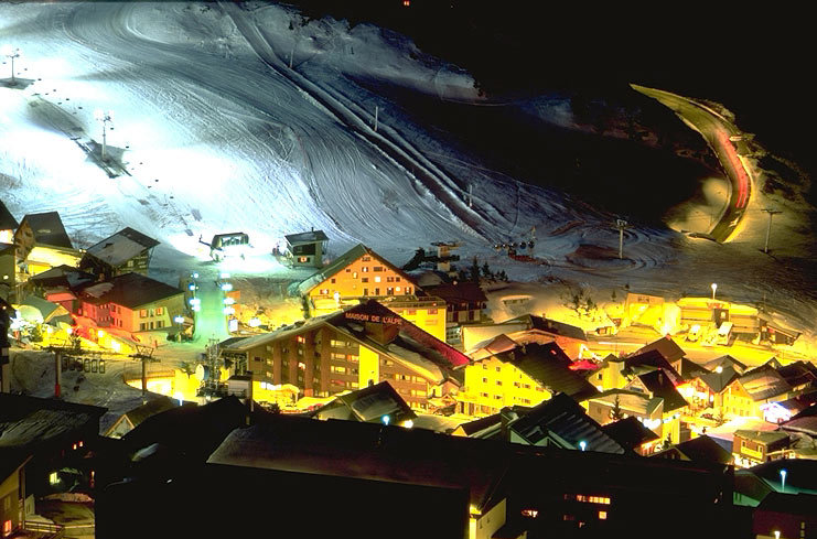 The village of Alpe d'Huez FRA at night.