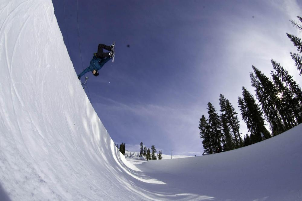 Handplant in Boreal's 22 foot Half-Pipe. Photo Credit: Boreal Ski Resort