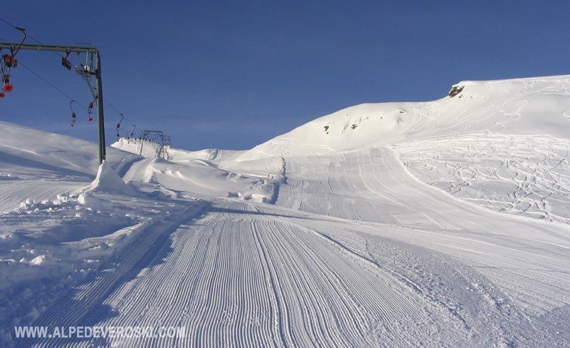 Freshly groomed tracks at Alpe Devero Ski