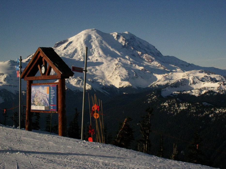 The summit of Washington's Crystal Mountain yields views of Mt. Rainier. - ©Becky Lomax