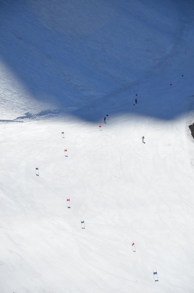 Training for the season on the snow that's left - © Travis Ganong