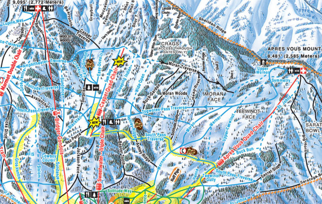 The new Casper high-speed quad replaces the old triple. Map courtesy of Jackson Hole Mountain Resort.