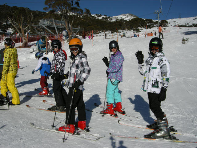 Children on the slopes of Charlotte Pass, Australia (taken June 29)