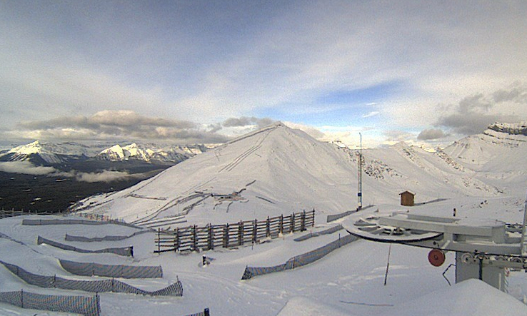 Lake Louise installs fences pre-seaon to collect snow. Photo courtesy of Lake Louise webcam.