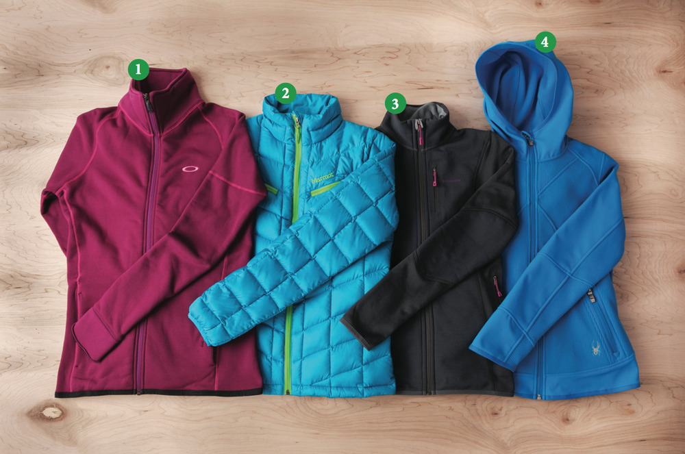 Women's Mid Layer: 1) Oakley PRS Stretch Fleece Jacket; 2) Marmot Safire Jacket; 3) Patagonia Piton Hybrid Jacket; 4) Spyder Stated Softshell Hybrid Light - © Julia Vandenoever