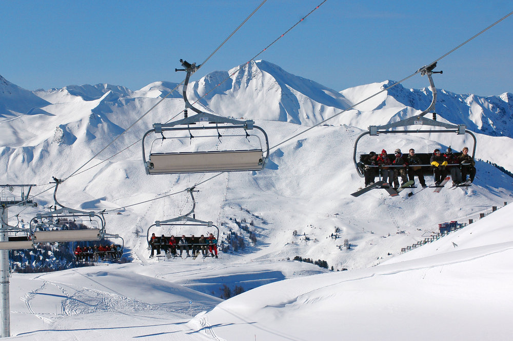 Taking the lifts in La Plagne. The Paradiski area is favourite with UK skiers - ©Beatrice Koumanov