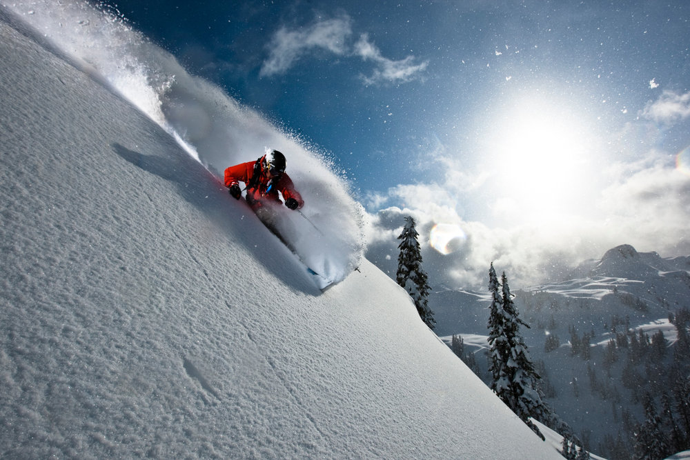 Zack Griffin skiing the steeps at Mt. Baker WA - © Grant Gunderson