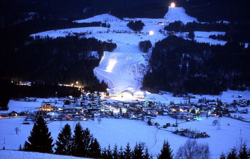 Nassfeld, AUT lit for nightime skiing.