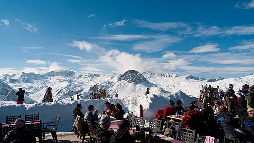 Lunch with views across the peaks, Val d'Isere