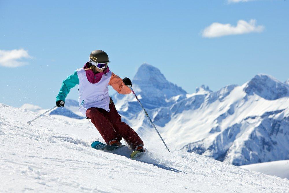 skiing at Sunshine Village along the Continental Divide. - ©Sean Hannah/Sunshine Village