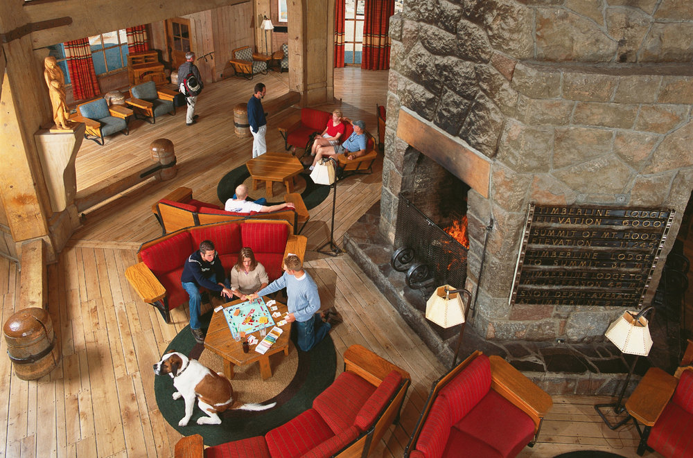 Lobby in the historic Timberline Lodge. - ©Timberline Lodge