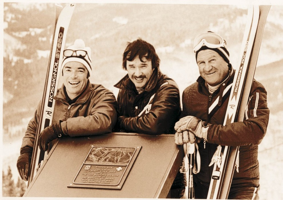 Finder, Founder / Earl Eaton, Pete Seibert: Their complimentary skills and styles formed the perfect partnership to launch Vail. The quiet, unassuming Eaton grew up in a homesteader's cabin, learned to ski on pine boards fashioned by his father, and served as an army engineer in World War II. In 1957, while other 10th Mountain Division pioneers scoured the state for ski resort locations, Eaton struck gold, leading Seibert above Vail's deceiving front face to its bountiful upper slopes—and then into the Back Bowls to seal the deal. He played a critical role in laying out the trails and lifts, though he would never see a big payday for his efforts and didn't seem to mind. Seibert, a brash New Englander who dreamed of building the quintessential ski resort as a child, was a 10th Mountain vet who meticulously studied the resorts of the Alps. He had vision, passion and an uncanny ability to get things done—lining up investors, acquiring the ranch land at the base, and, after opening Vail in December 1962, directing its daily operations until the mid-1970s. In 2000, SKI Magazine, in its list of the most influential skiers in history, named Seibert No. 3.  Pete Seibert is on the left.