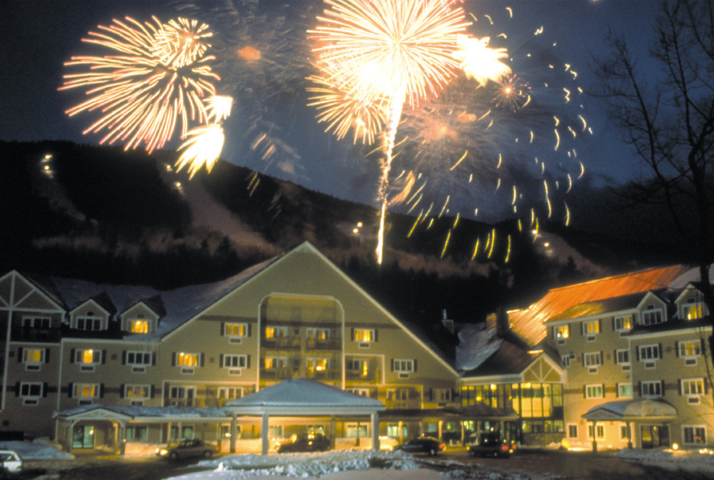 New Year's Eve fireworks over the Grand Resort Hotel. Photo Courtesy of Sunday River.
