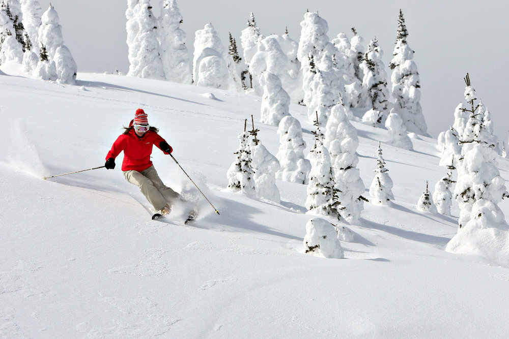 A skier dodges snow ghosts at Sun Peaks. - © Paul Morrison/Sun Peaks Resort