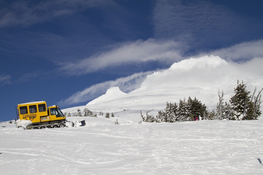 Cat skiing upper mountain at Timberline on Mt. Hood. Photo courtesy of Timberline Lodge.