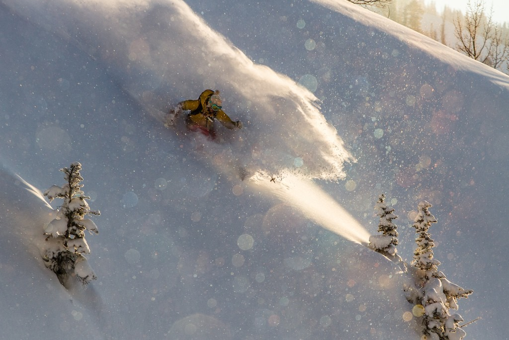 Caroline hits her mark perfectly as a sliver of light shines in Little Cottonwood Canyon.  - © Liam Doran