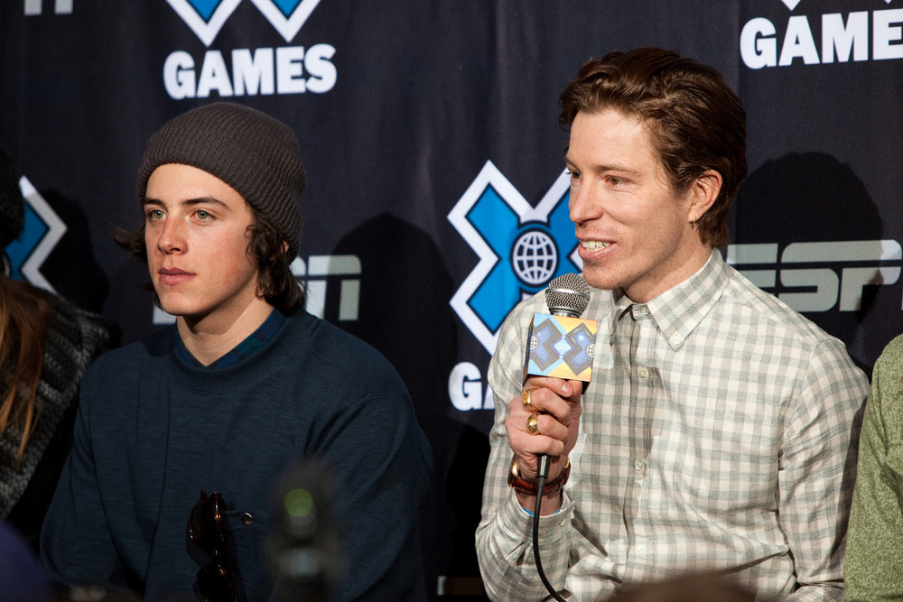 Mark McMorris (left) and Shaun White (right) discuss the media hype around their heated competition in slopestyle. - © Jeremy Swanson