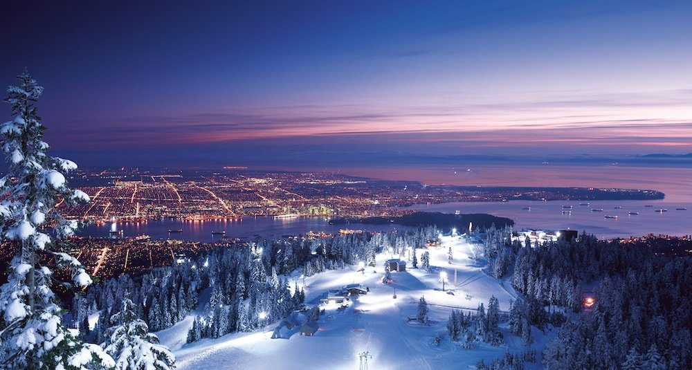 Night skiing at Grouse yields views of Vancouver lights.  - © Grouse Mountain