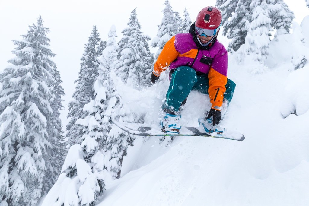A snowboarder relishing powder at Mt. Hood Meadows. Photo by Randy Boverman, courtesy of Mt. Hood Meadows. - © Randy Boverman/Mt. Hood Meadows