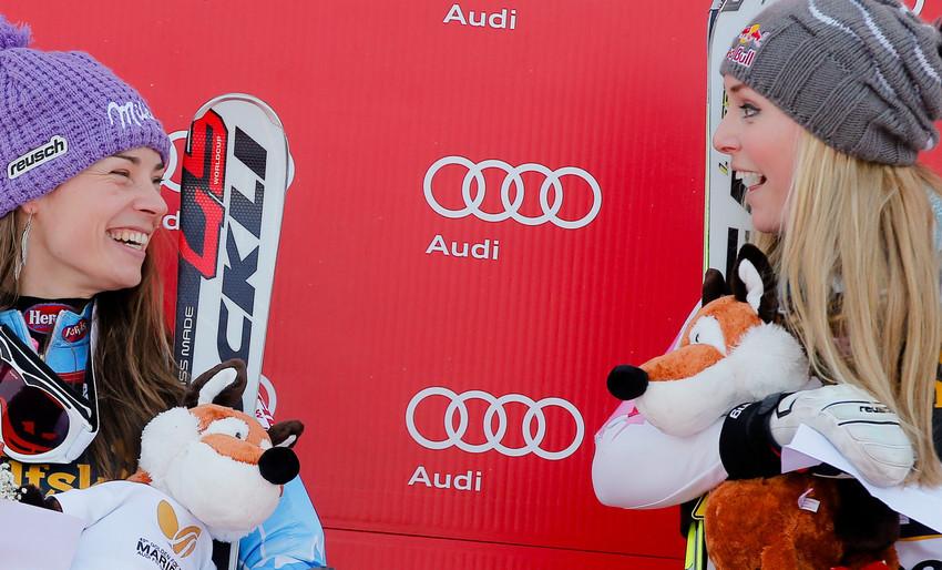 Die beiden Dominatorinnen im Damen-Weltcup: Maze und Vonn - © Stanko GRUDEN/AGENCE ZOOM