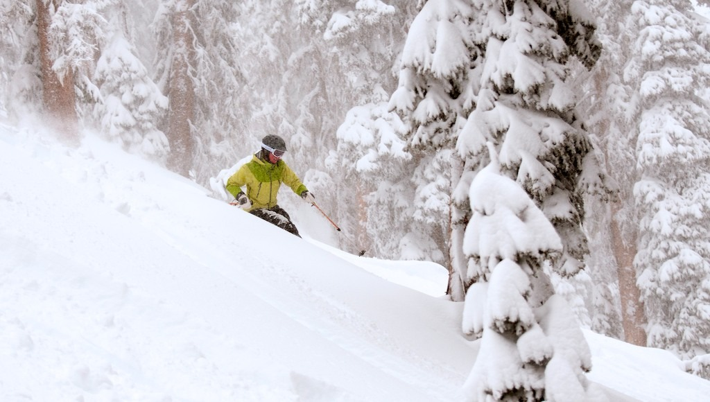 Whitney Mitchell enjoys another powder run at Wolf Creek. - © Josh Cooley