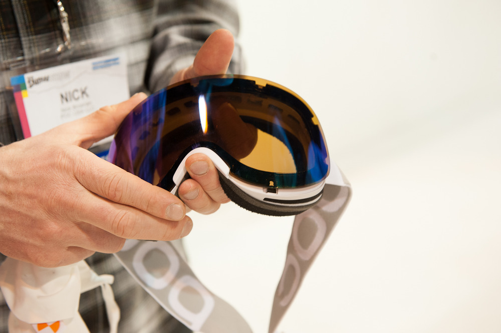 POC's Lid goggles are rimless for great aesthetics. They have an easy change, interchangeable lens system with a lens that pops out in a snap and connects via nine connection points. The goggles also feature three layers of foam for comfort and breathability. - © Ashleigh Miller Photography