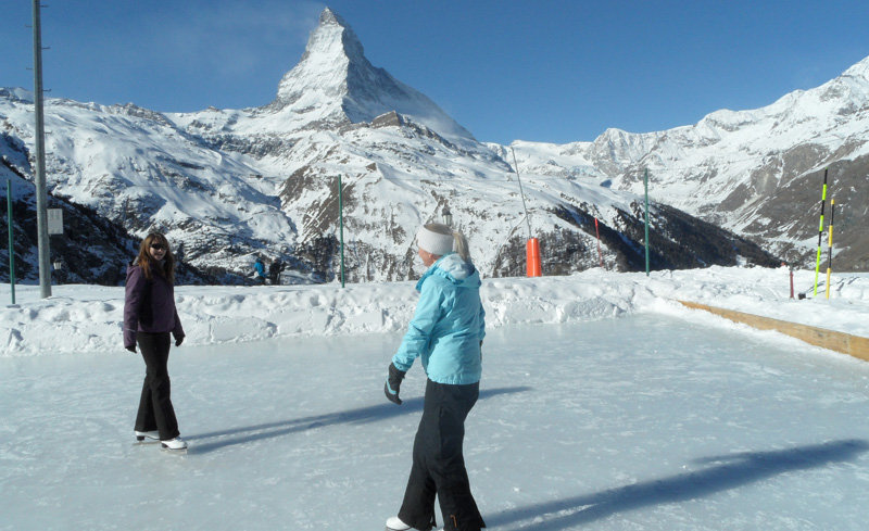 Ice skating next to the Matterhorn at the Riffelalp Resort, Zermatt - © Riffelalp Resort