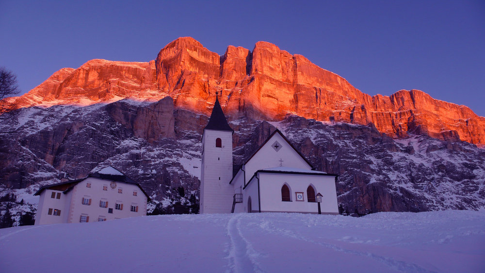 The pink glow of the Dolomites at sunset in Alta Badia - ©Hl. Kreuz - S. Croce by Freddy Planinschek