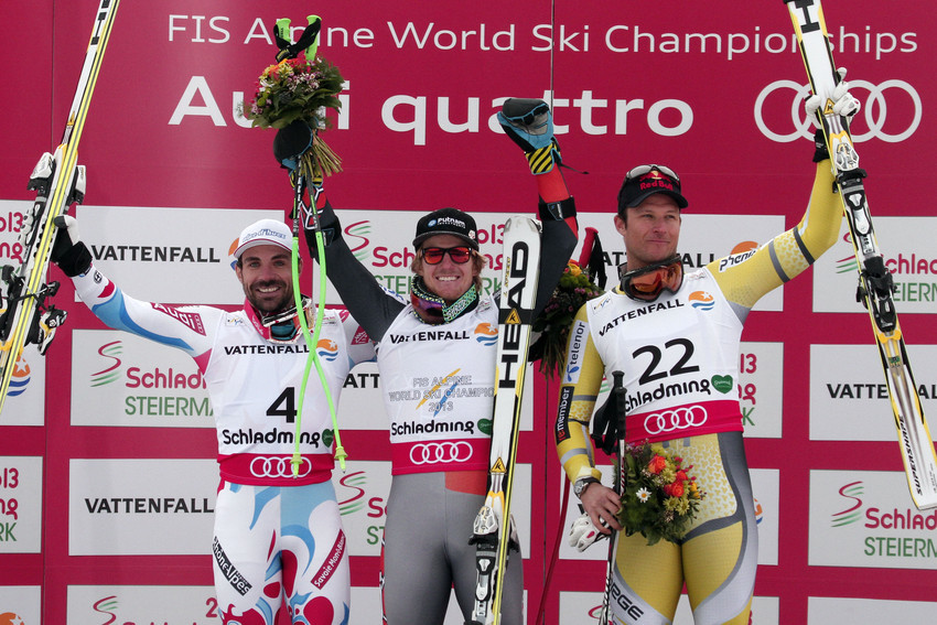 v.l. Gauthier de Tessieres, Ted Ligety, Aksel Lund Svindal - © Christophe Pallot/Agence Zoom