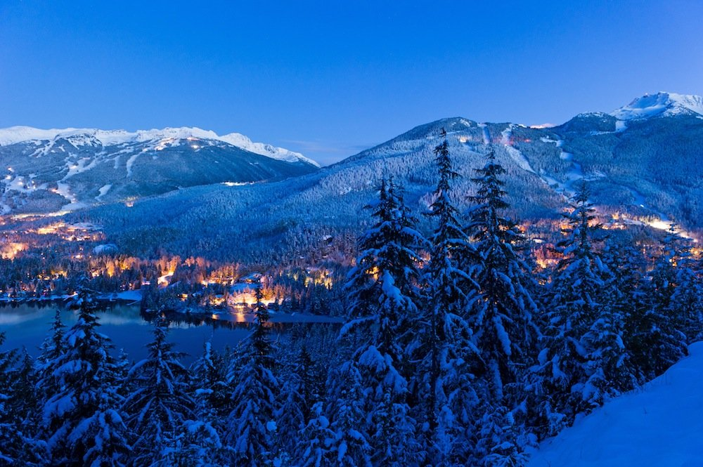 Whistler Blackcomb night view of mountains and valley. - ©Mike Crane/Whistler Tourism