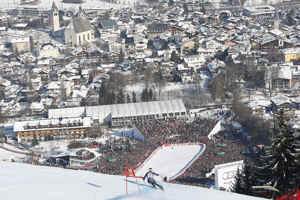 Travis puts the finishing touches on a stellar run as the Kitzbuhel crowd cheers him on. - © Travis Ganong